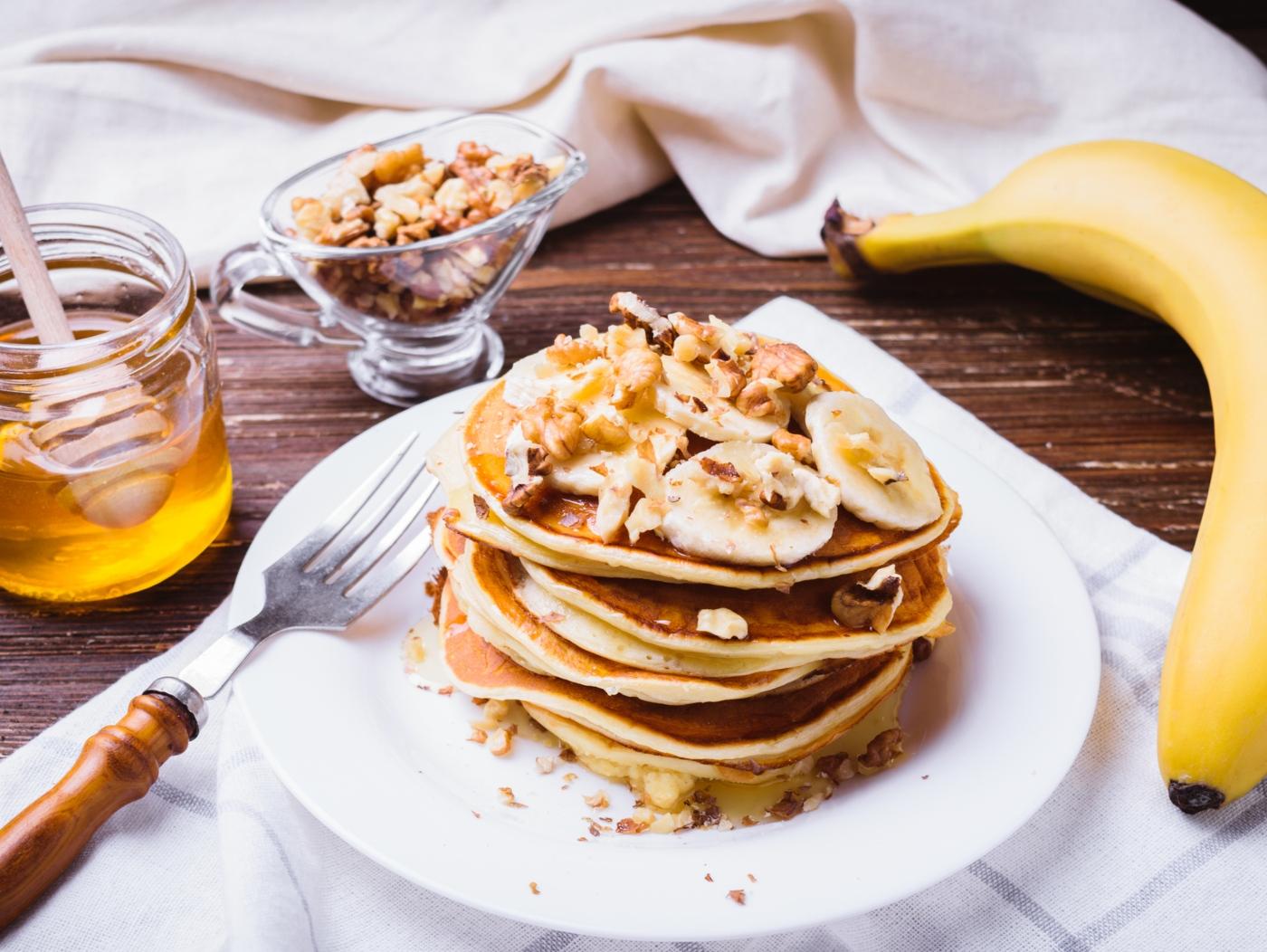 Receitas de panquecas de aveia e banana