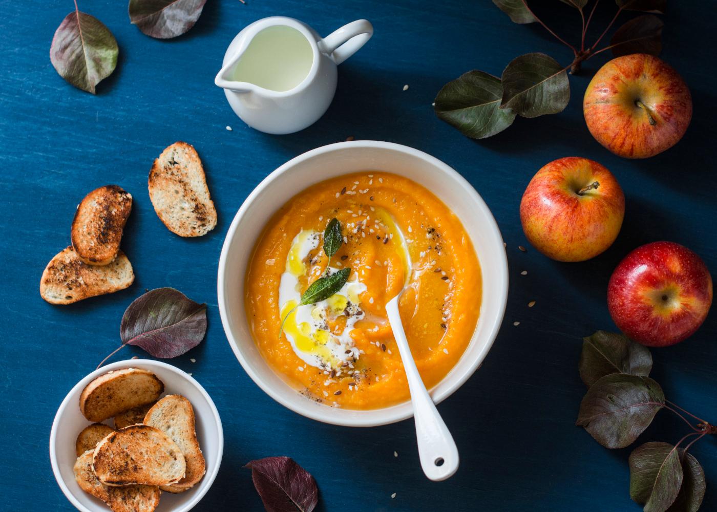 sopa de batata-doce e maca