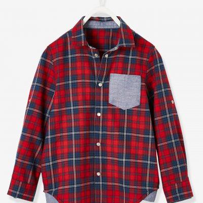 camisa aos quadrados com bolso para menino