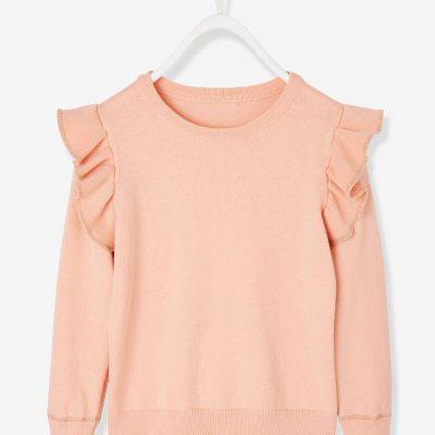 camisola menina com folho rosa velho