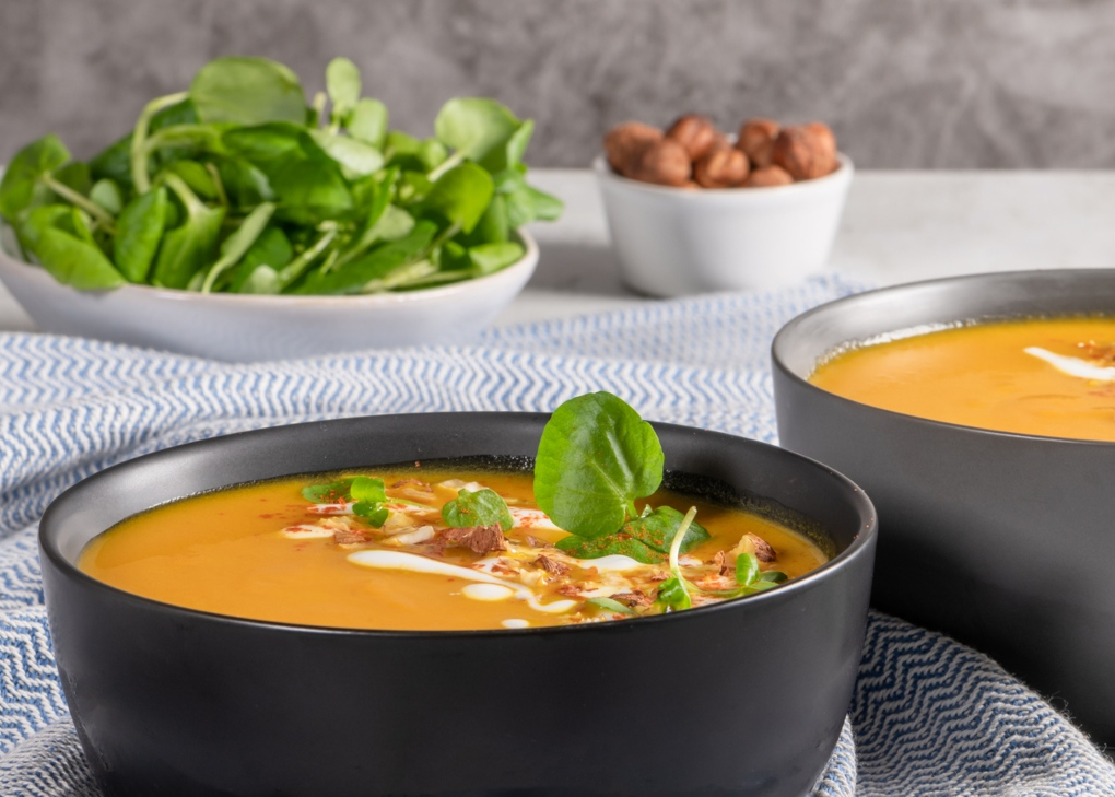 Sopas sem batata: sopa de agrião e abóbora