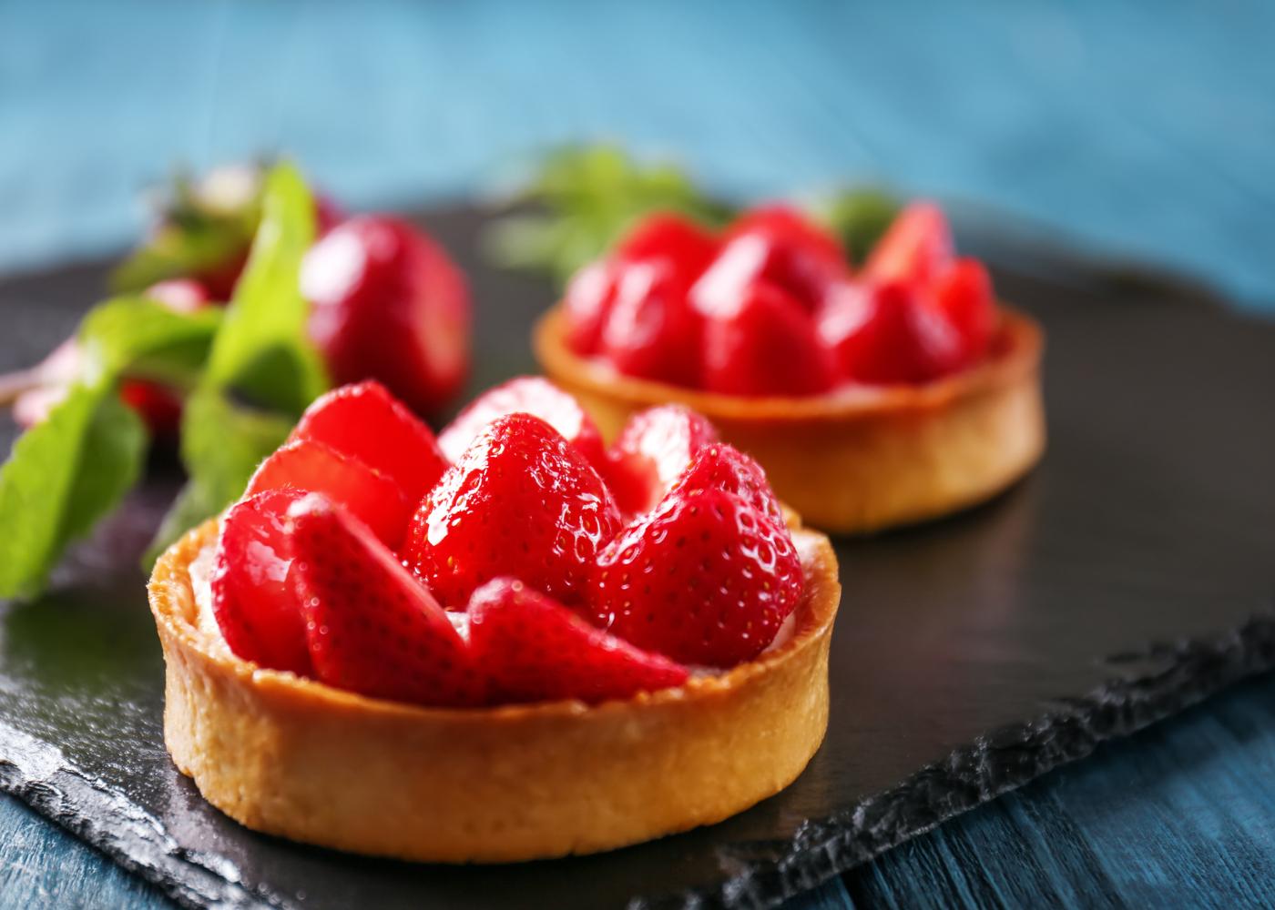 mini tarteletes de morango com creme simples