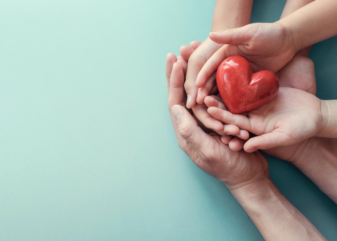 Mãos a segurar maquete de coração