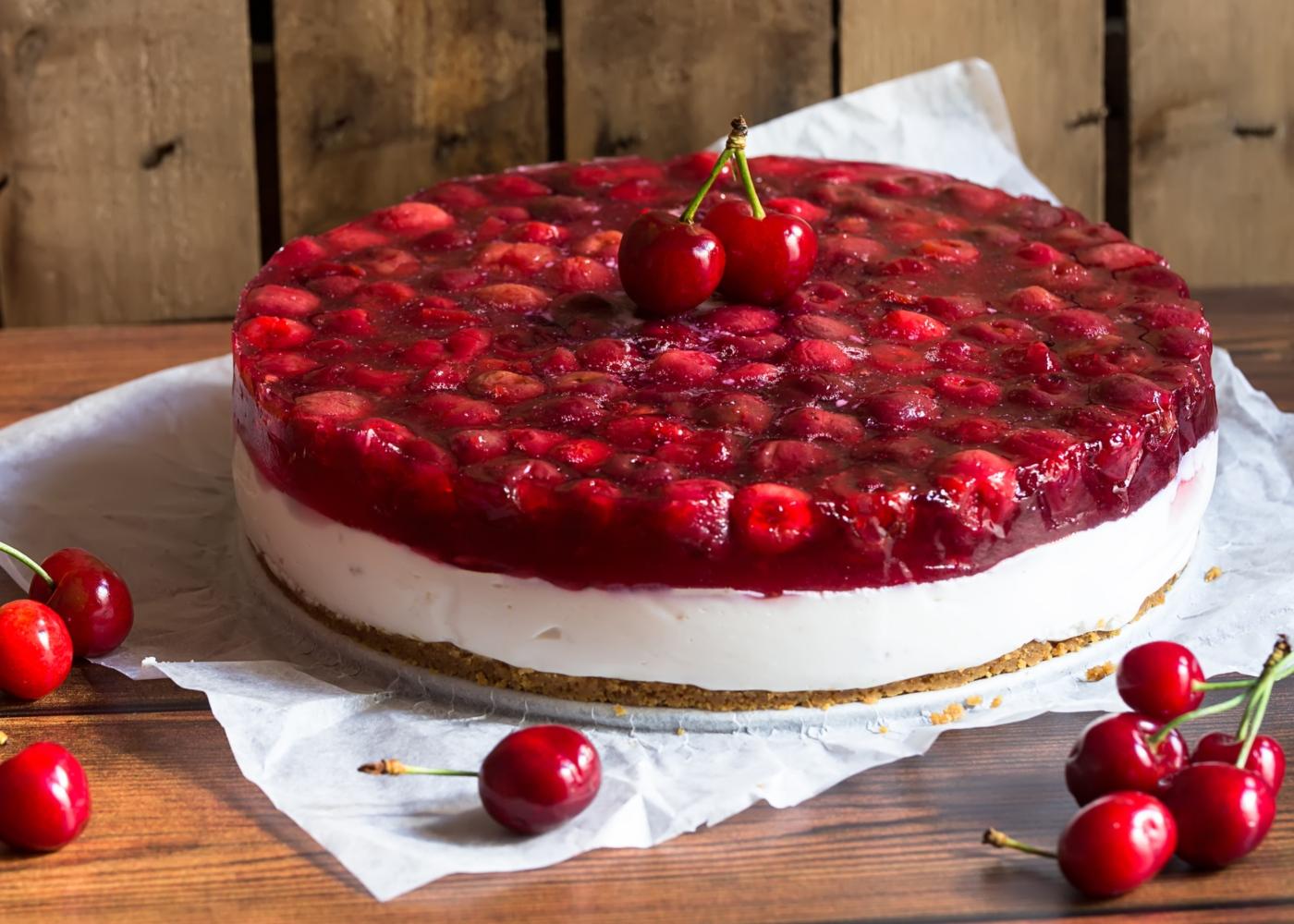 Cheesecake de cereja fresca