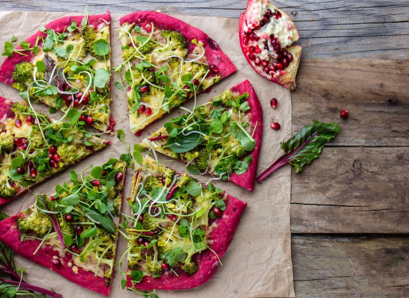 Massa de pizza à base de legumes: beterraba