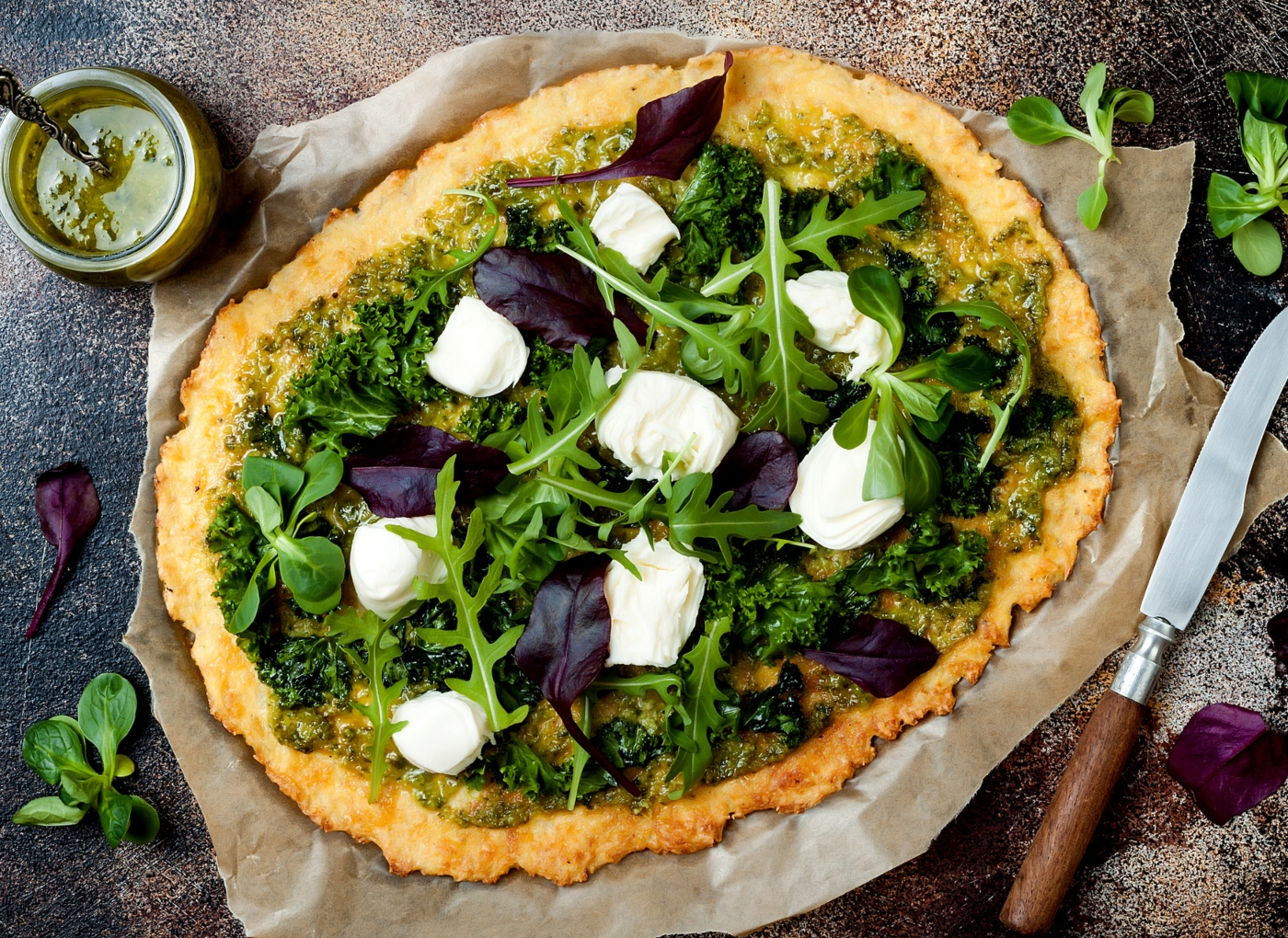 Massa de pizza à base de legumes: couve-flor
