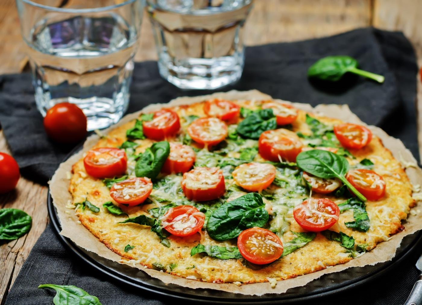 Pizza vegan com linhaça