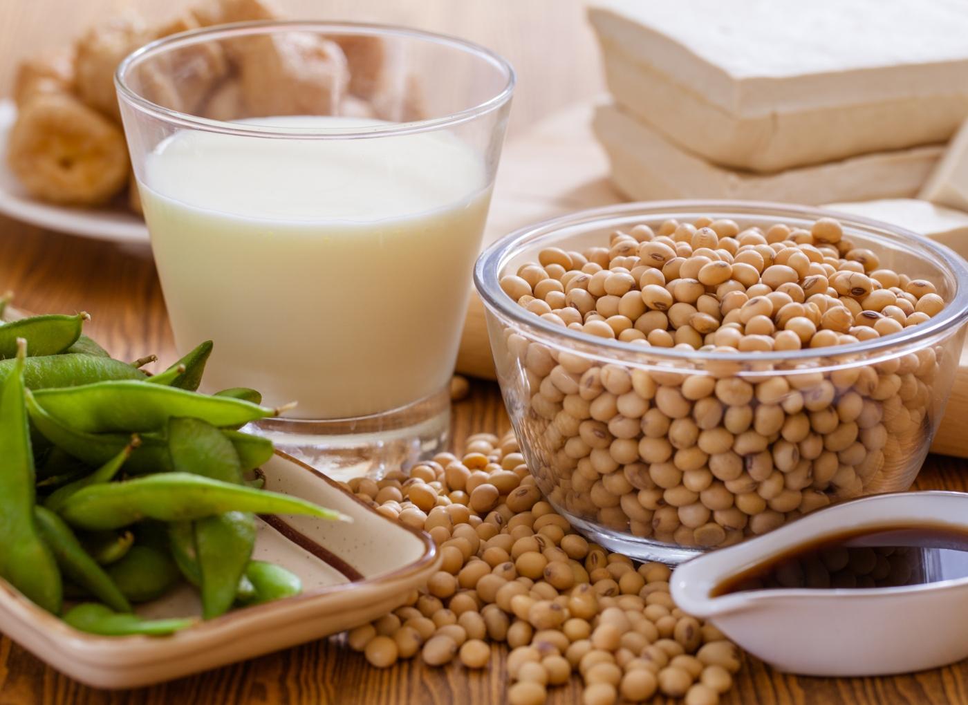 Variedade alimentos de soja: leite, grão, queijo, molho