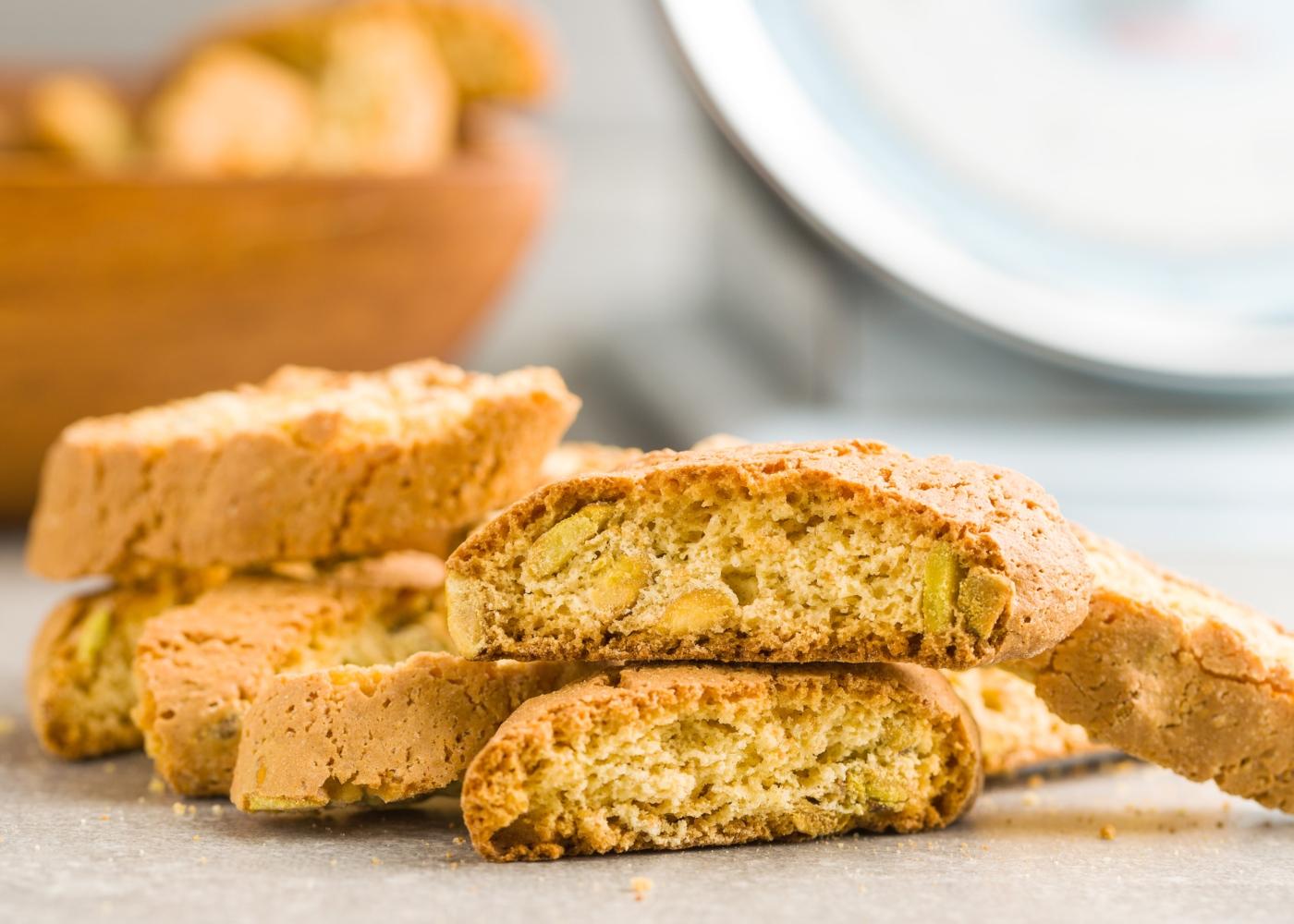 Bolachas de pistachio com cacau