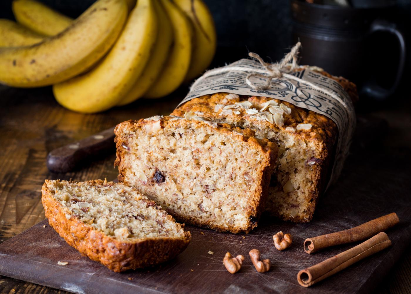 pão de banana com canela