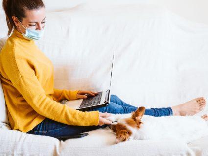 COVID-19 e animais de estimação: mulher a brincar com o cão em casa