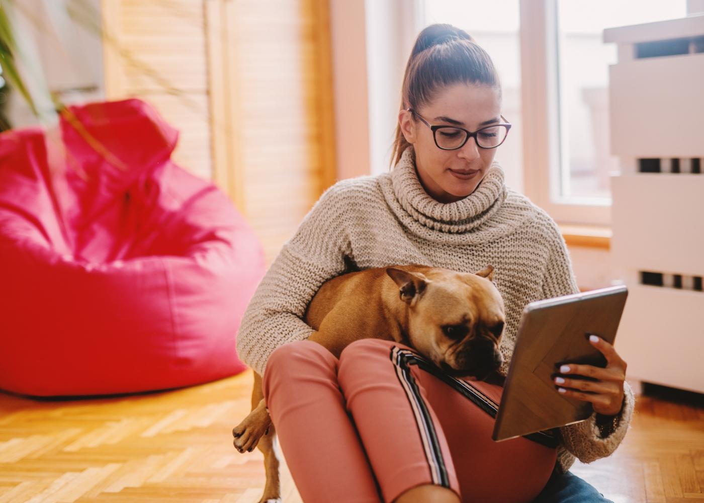 Cão no colo da tutora a ver imagens num tablet