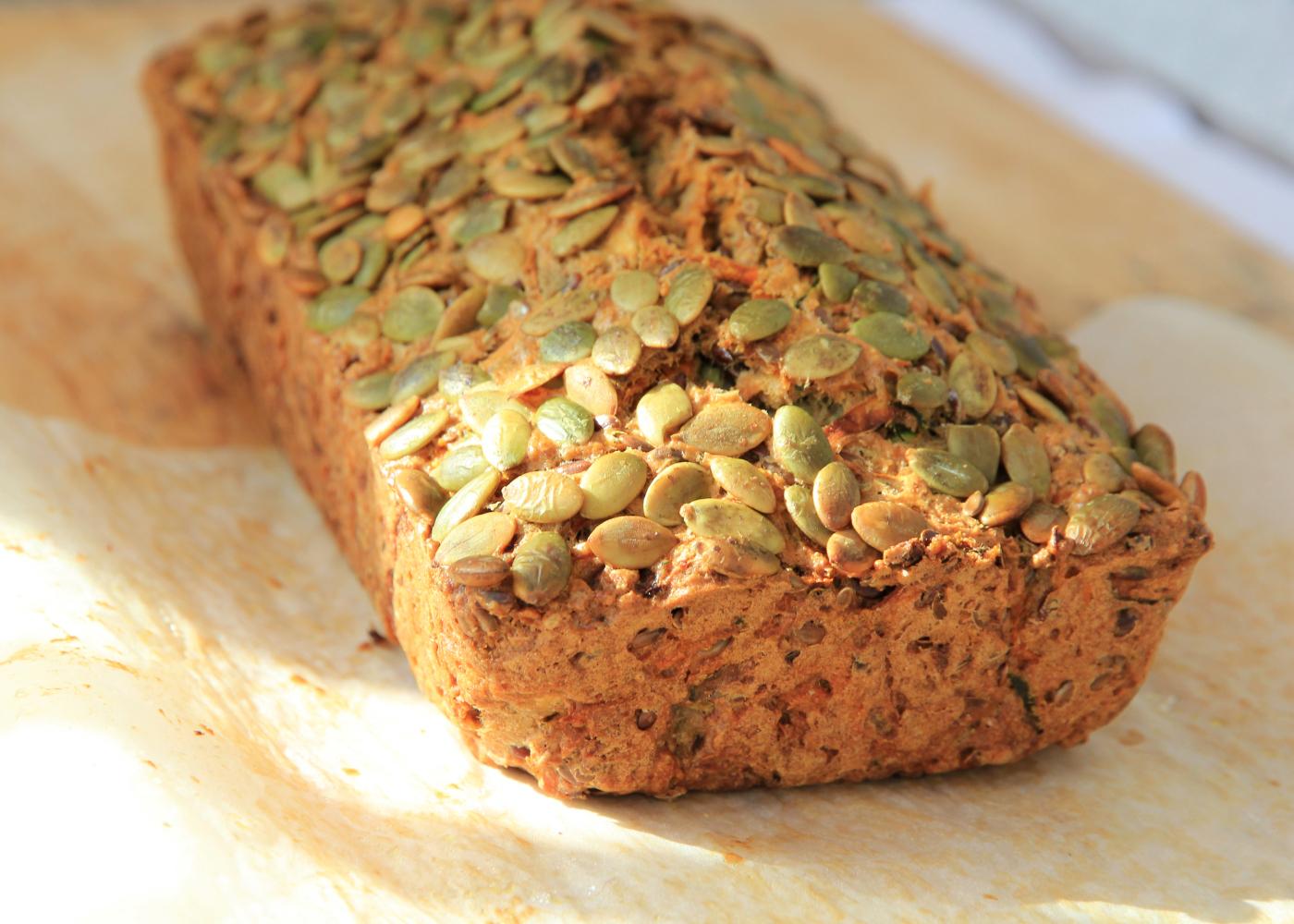 pão sem glúten com sementes de abóbora