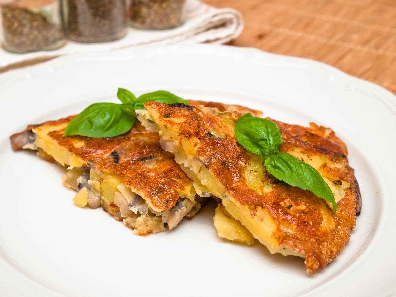 tortilha de batata e cogumelos na bimby