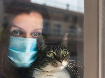 Cães e gatos podem contrair COVID-19: mulher com máscara e com o gato ao colo