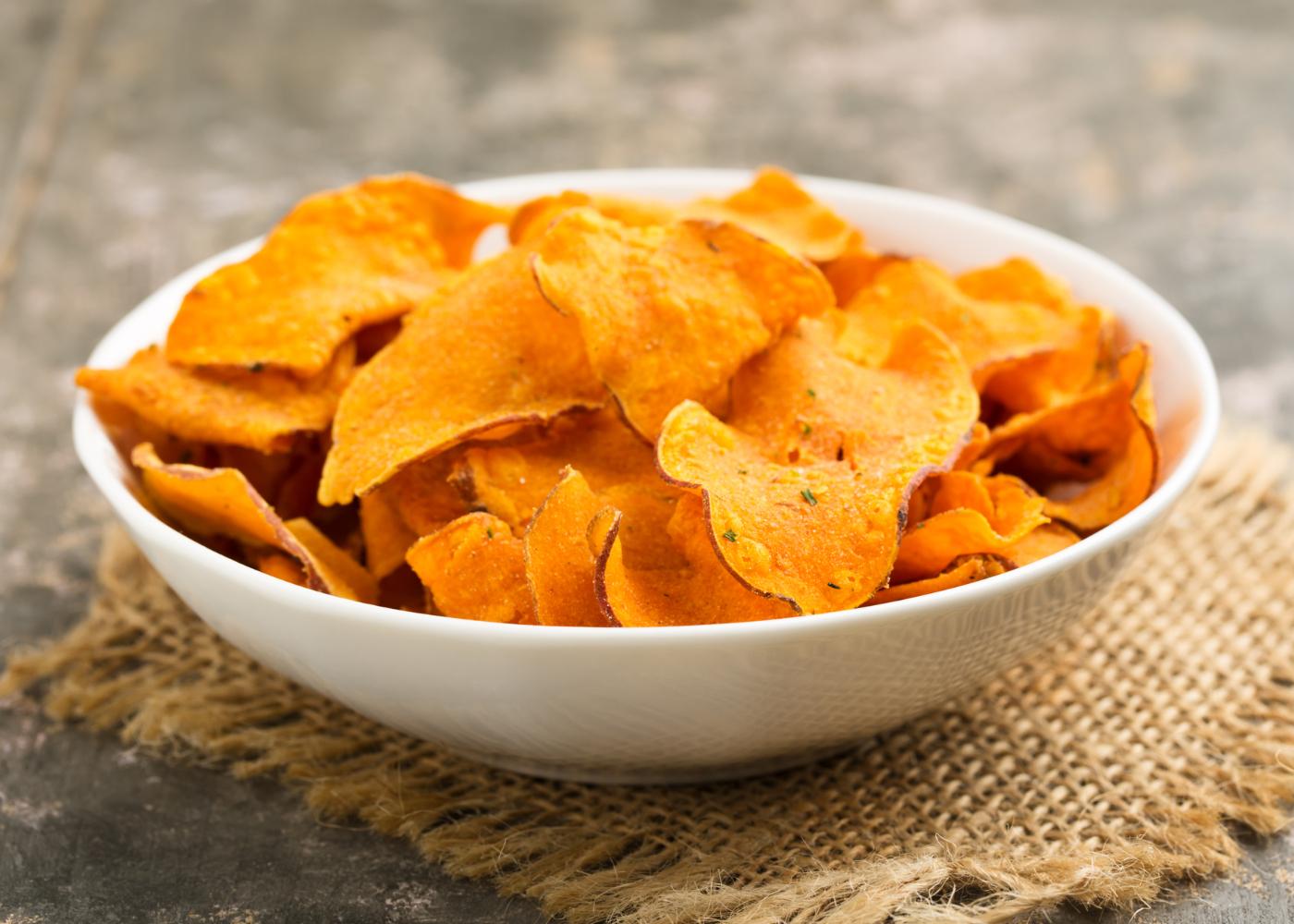 chips de batata-doce em rodela