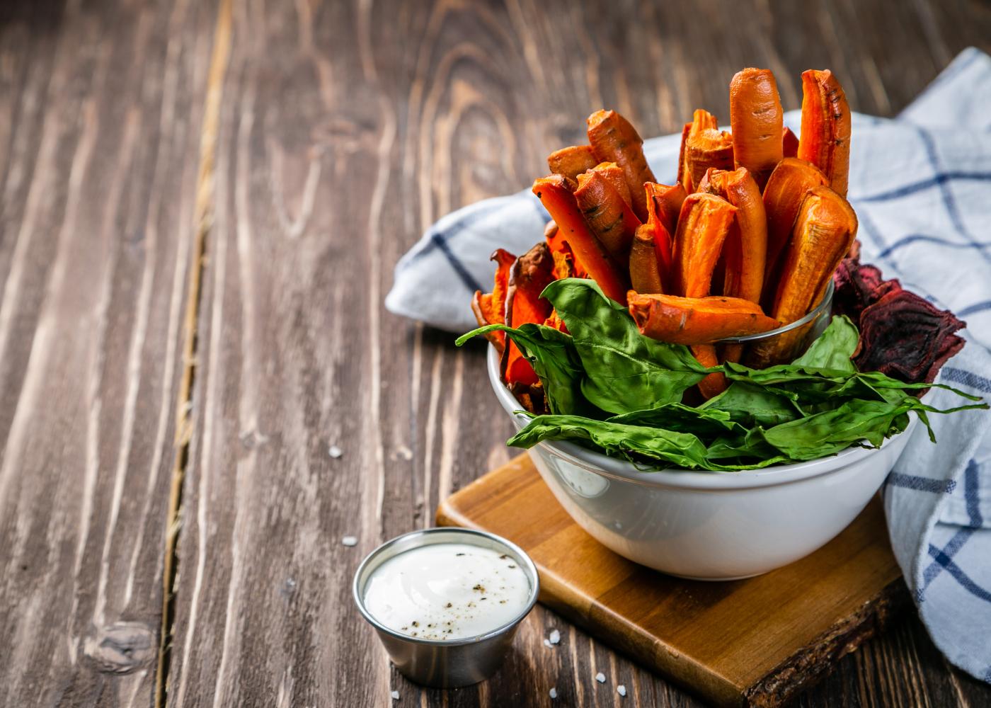 chips de cenoura em palitos