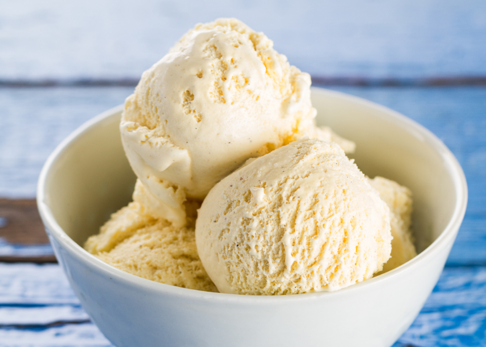 sobremesas para intolerantes à lactose: gelado de baunilha