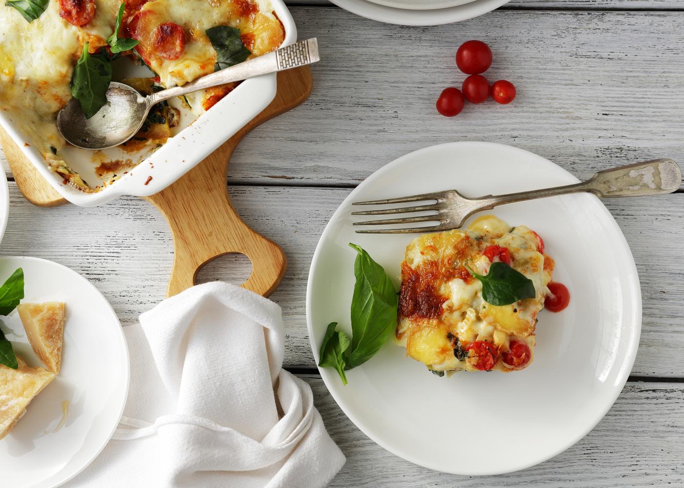 lasanha de frango com ricotta e legumes