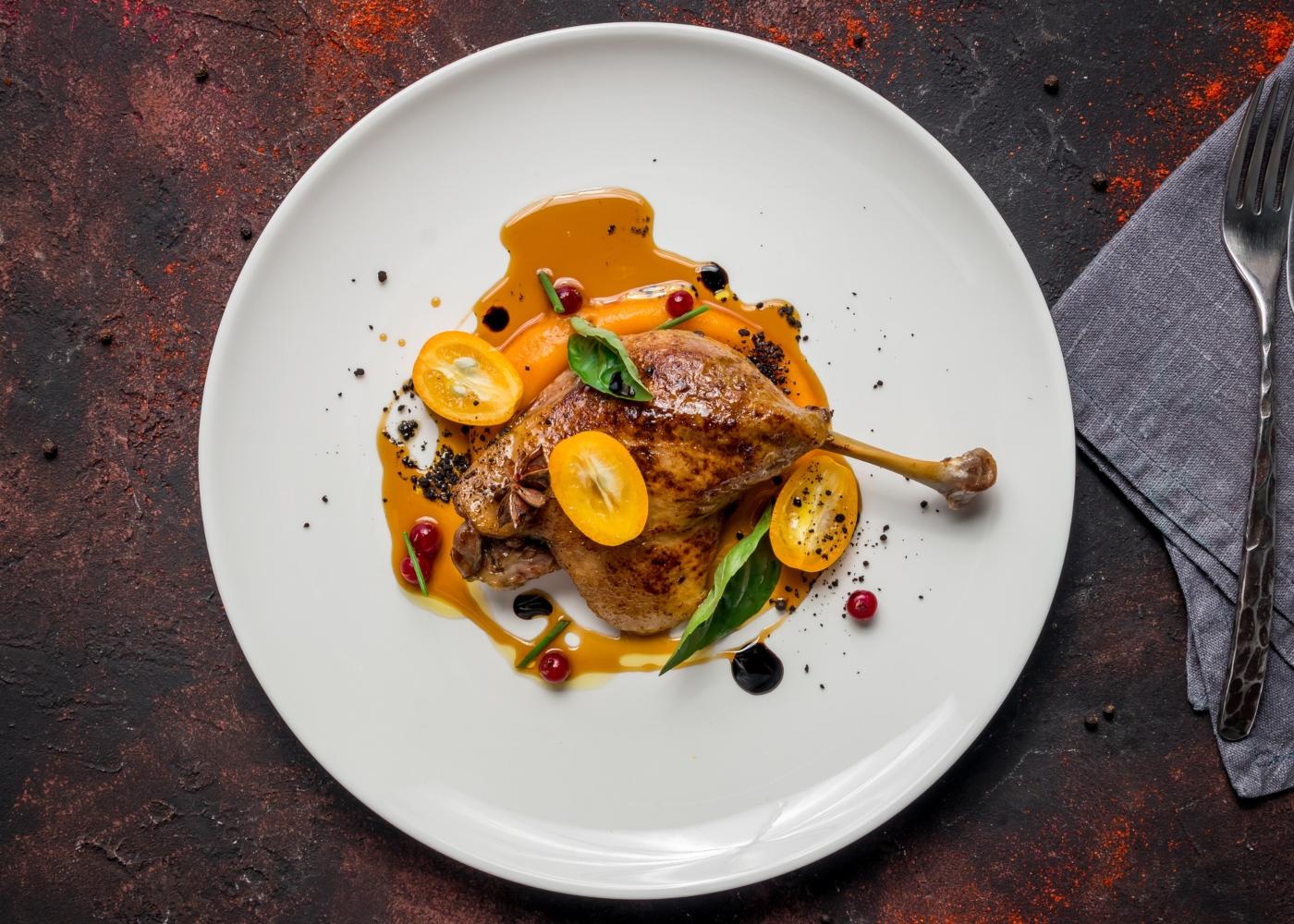 Pato assado com laranja