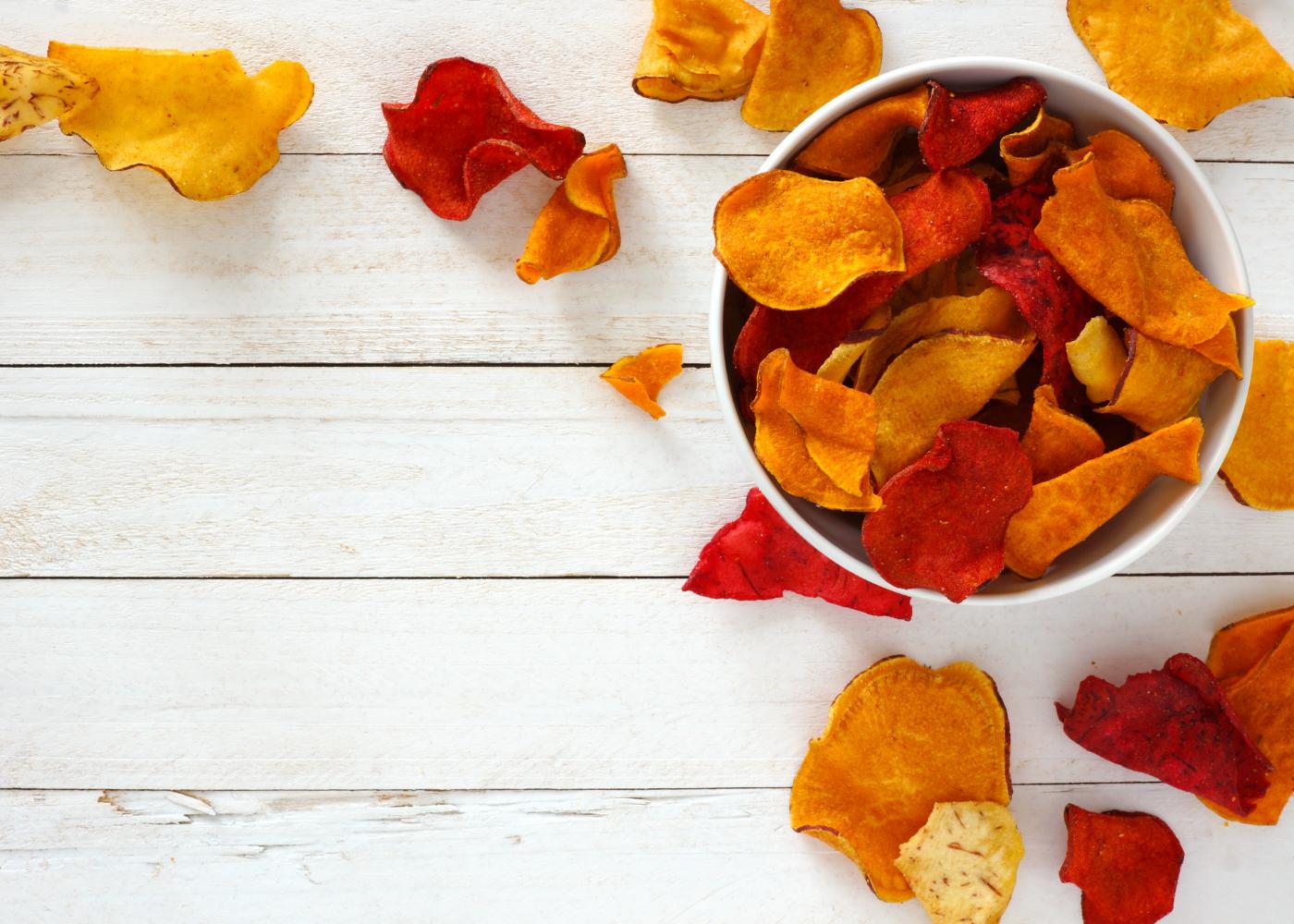 chips de batata-doce e beterraba