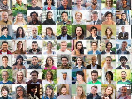 Racismo: fotos tipo passe de uma grande diversidade de pessoas