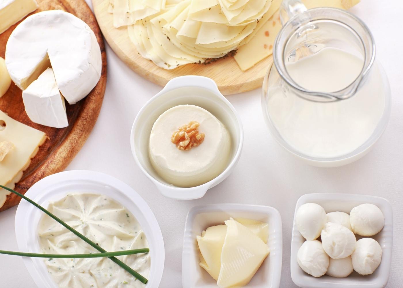 Variedade de queijos e jarro de leite