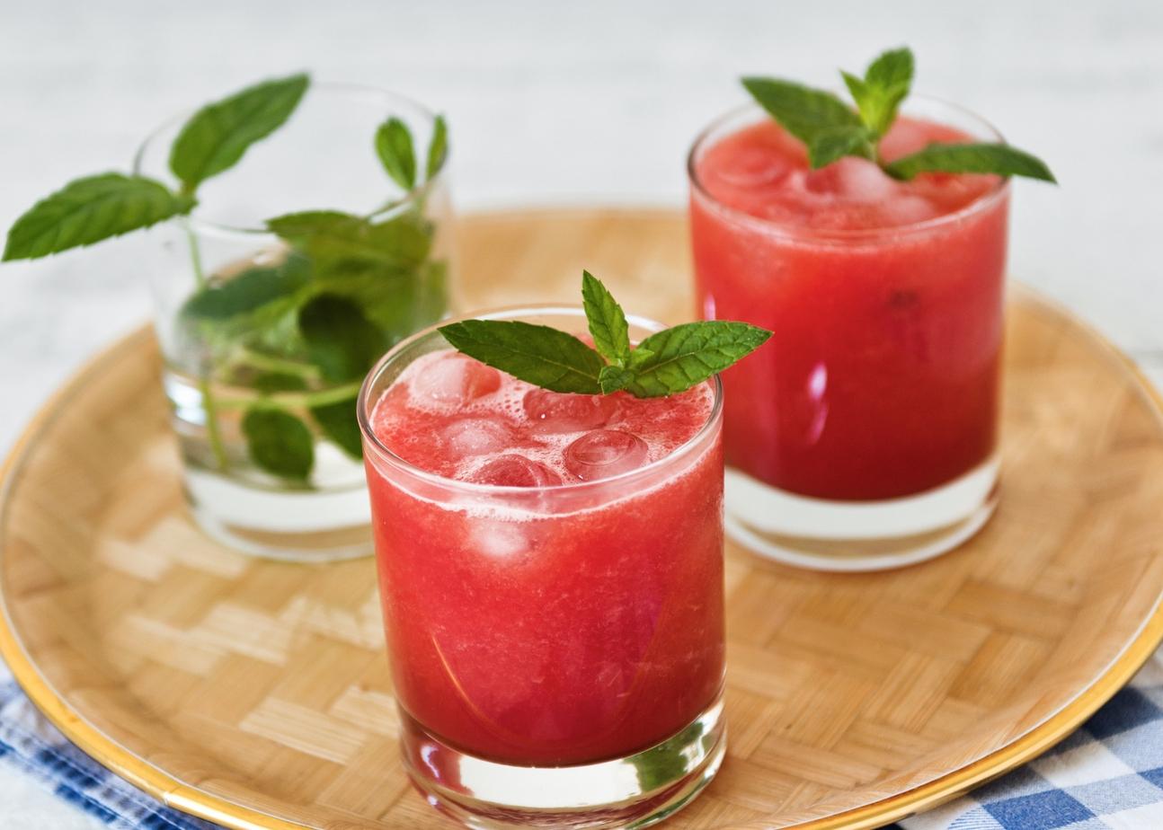 Sumo de melancia e morango