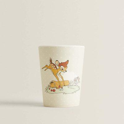 copo em bambú com desenho do bambi