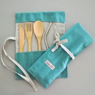 conjunto de colher, garfo e faca bambú