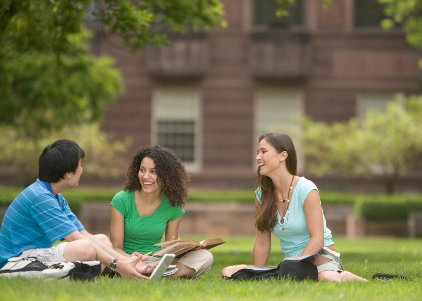 Estudantes universitários sentados no jardim da Faculdade a conversar