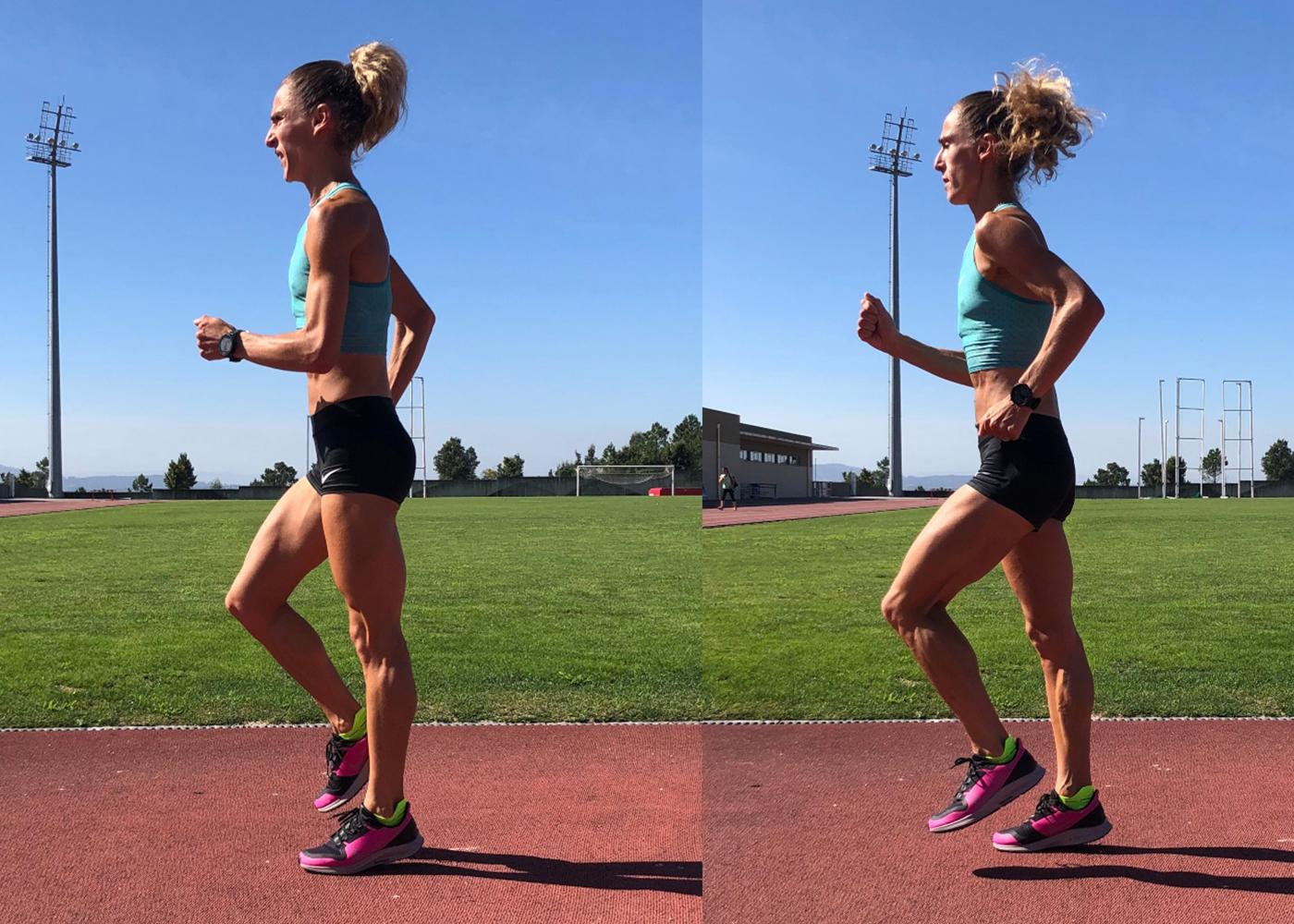 Mulher a correr com técnica de skipping baixo