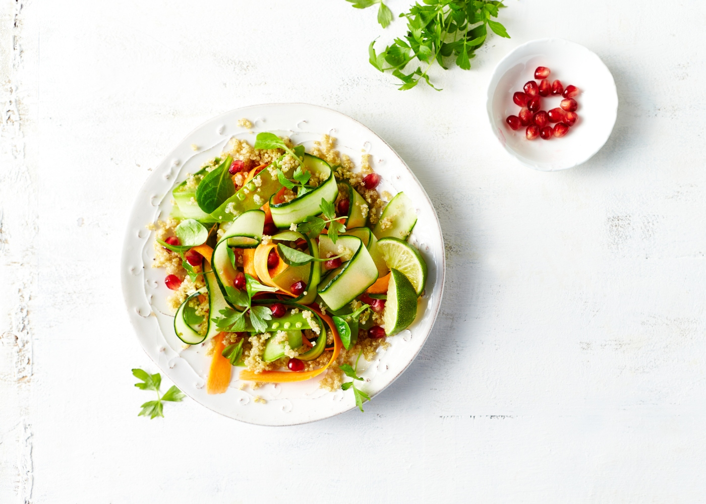 salada com sementes de romã