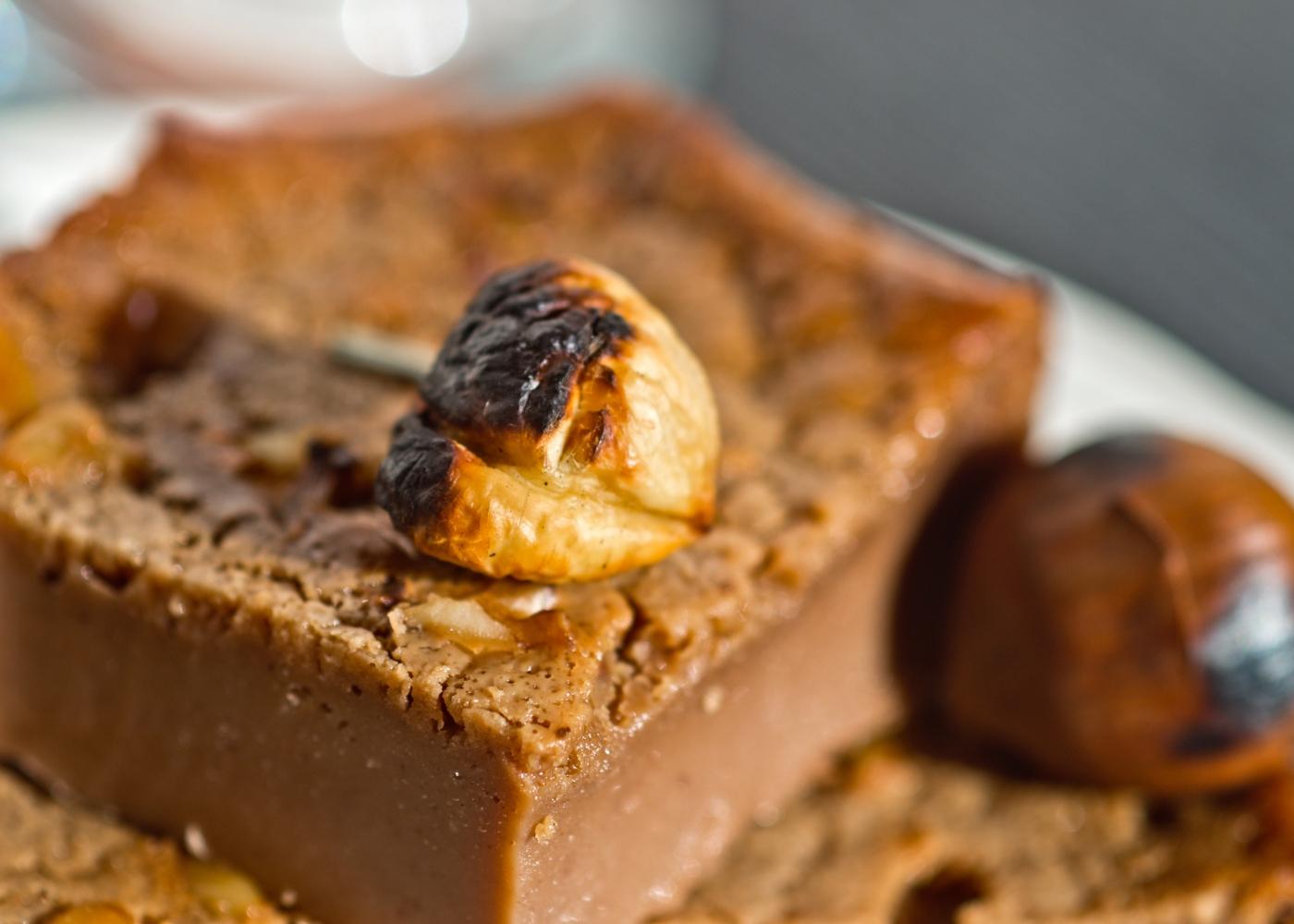 close-up bolo de castanha