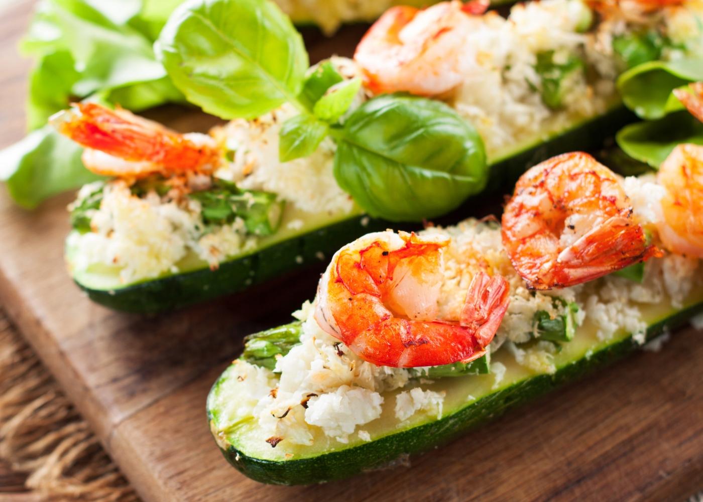 courgettes recheadas com camarão