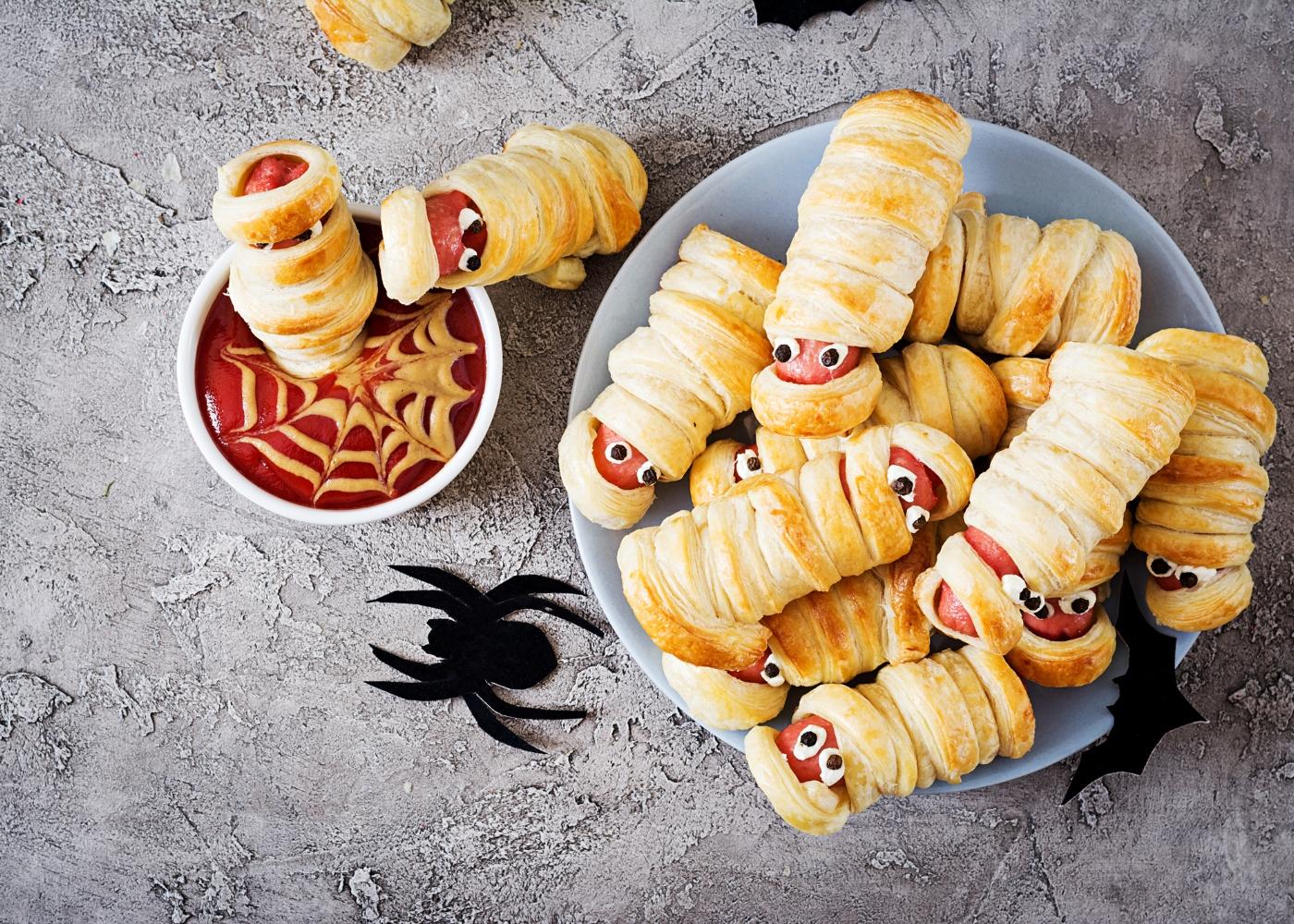 salsichas múmias halloween