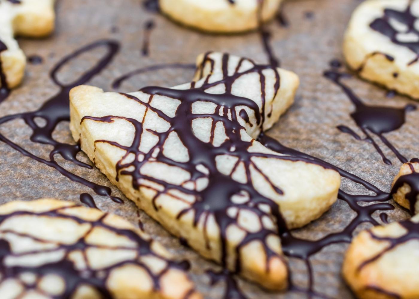 Bolachas de manteiga com chocolate