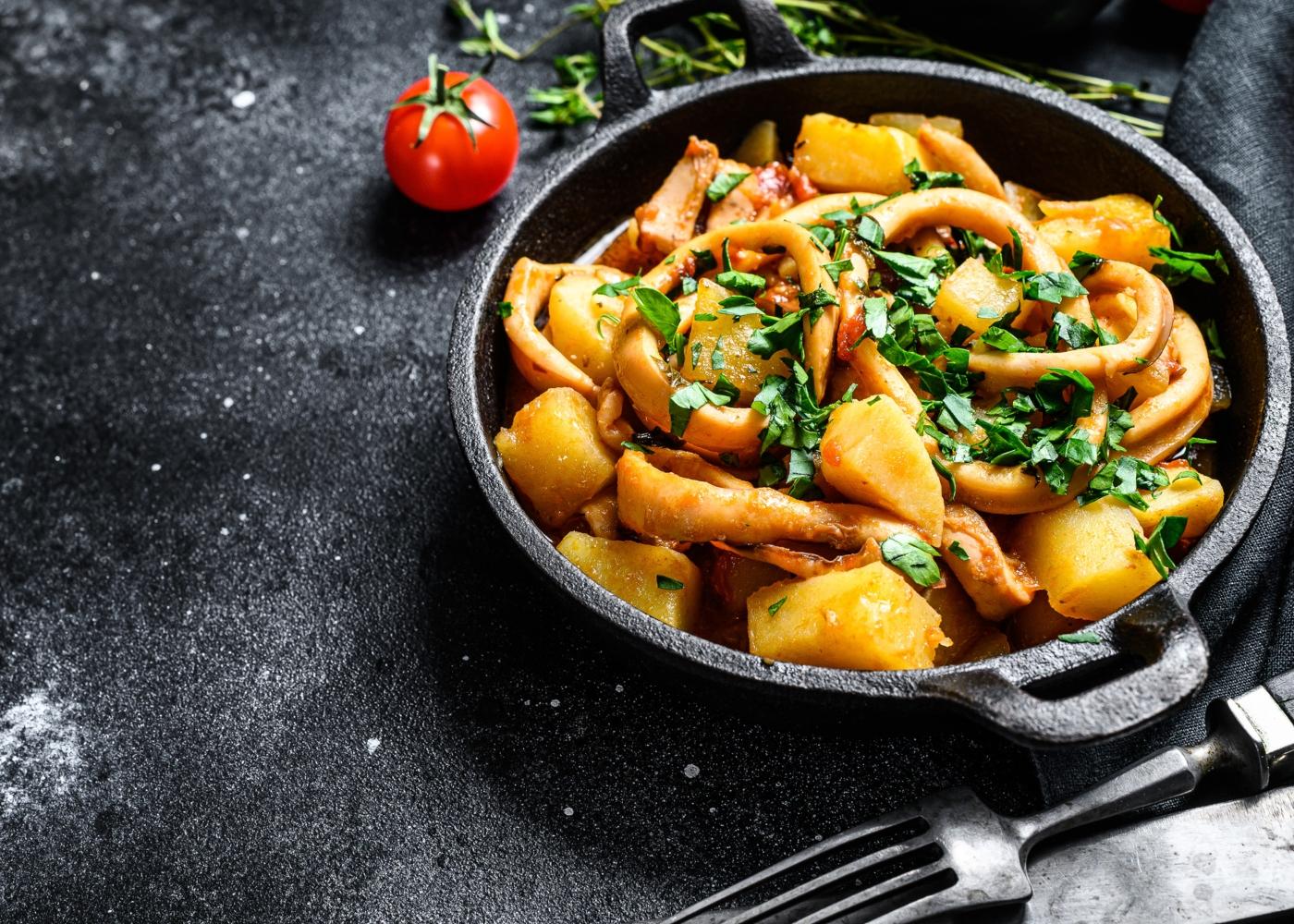 Caldeirada de lulas com batata-doce