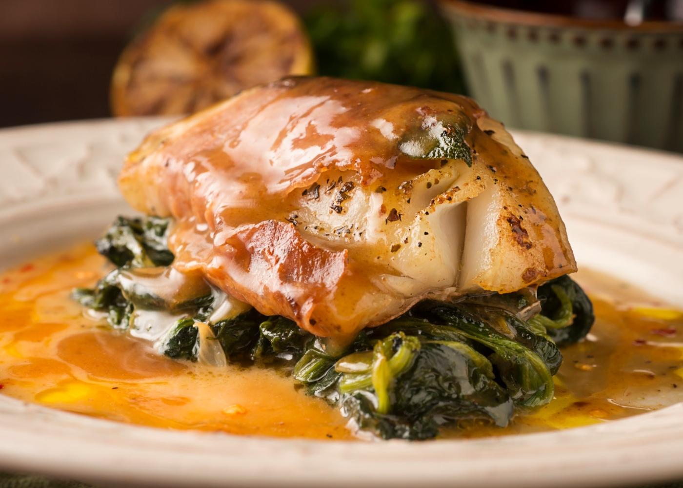 Bacalhau confitado com grelos
