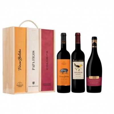 caixa com 3 qualidades de vinhos