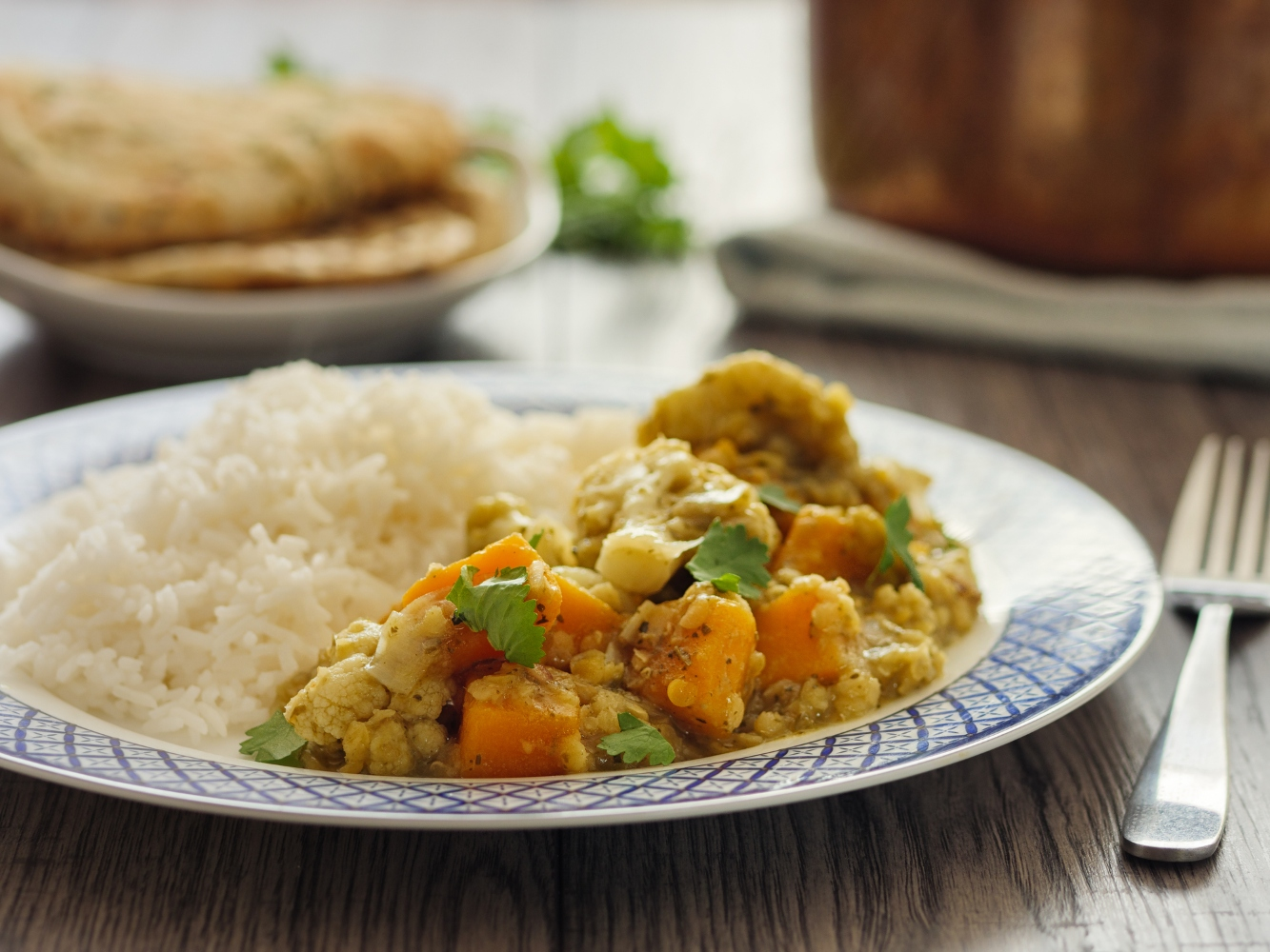 prato com caril de lentilhas com arroz basmati