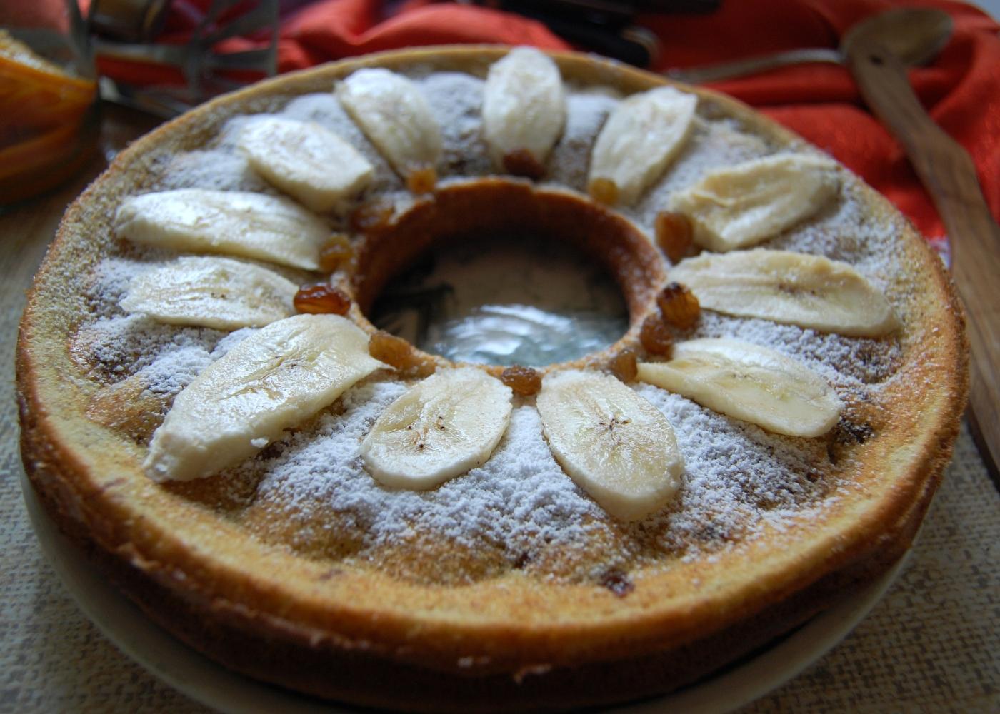 receita de bolo de banana e uvas passas