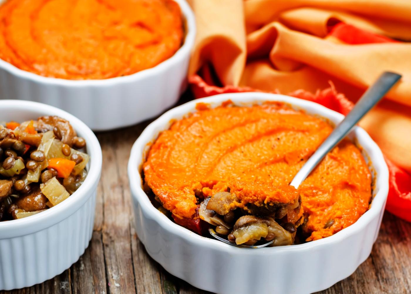 Empadão de batata-doce com lentilhas