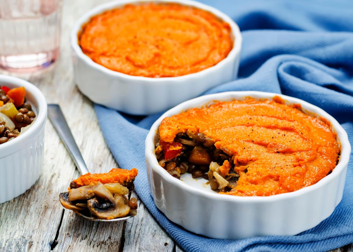 receita de empadão de lentilhas e batata-doce