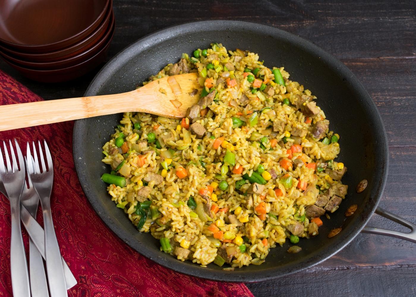 receita de one pot de arroz, feijão e ervilhas