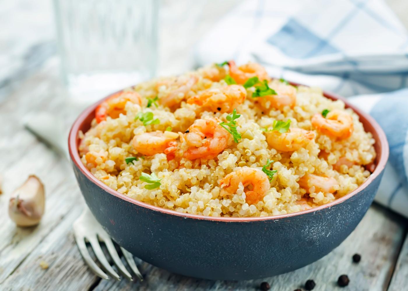 receita one pot quinoa e camarão