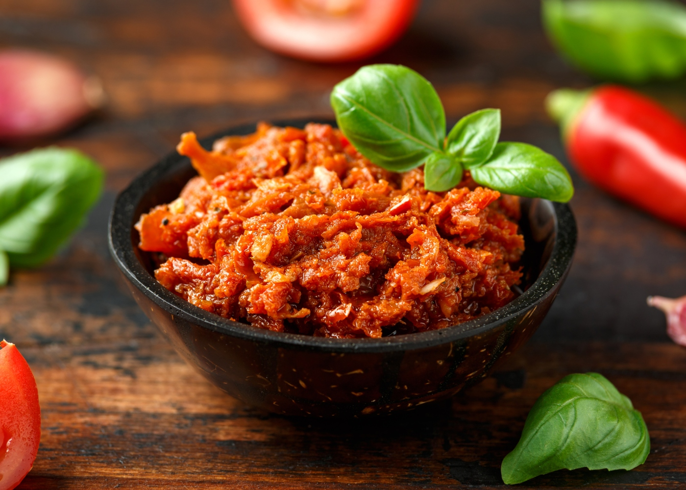 molho de pesto de tomate seco e cherry