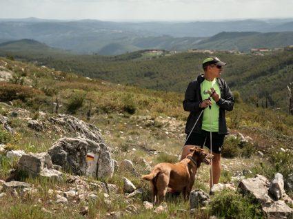 pedro pedrosa a fazer trail com o cão